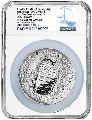 $ CDN325.85 • Buy 2019 Apollo 50th Anniv 5 Oz Proof Silver Coin NGC PF69 Early Releases