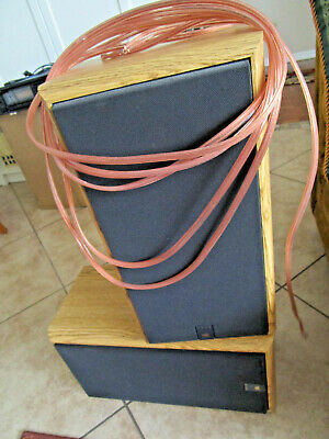 $89 • Buy NO SHIPPING - Vintage JBL 2600 SPEAKERS & CABLES Oak Wood Cabinets MINT