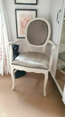 French Chic Hand Painted And Re Upholstered Silver Velour/chenille Carver Chair • 60£