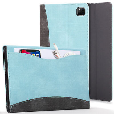 Apple IPad Pro 12.9 2020 Case Cover With Document Pocket & Sleep Wake - Sky Blue • 17.99£