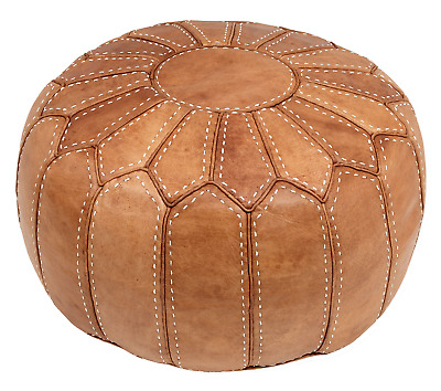 Moroccan Natural Tan Leather Pouffe Pouf Ottoman Footstool COVER ONLY Or STUFFED • 89.85£