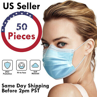 $19.24 • Buy 50PCS 3-PLY Disposable Face Mask Protective Surgical Dental Earloop Mouth Cover