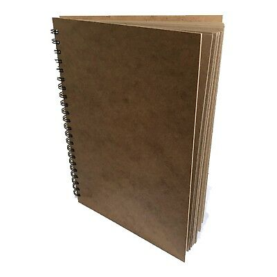 A3 Scrapbook Pad Wood Hardback Portrait  KRAFT Recycled Paper 60 Pages Sketch  • 14.99£