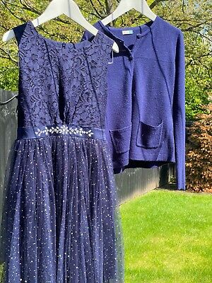 Yumi Girl John Lewis Dress & Cardigan Navy Blue With Sparkle Age 9/10  • 14£