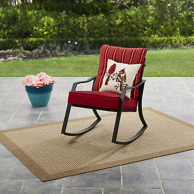 $160.48 • Buy Metal Outdoor Rocking Chair Patio Porch Garden Rocker With Cushion Red/Stripe