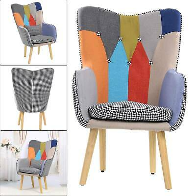 £105.99 • Buy Modern Multicoloured Patchwork Fabric Chair Armchair Wooden Legs Buttoned Back