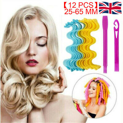 UK Magic Curlers Short Long Hair Spiral Curl Formers Leverage Rollers With Hook • 8.99£