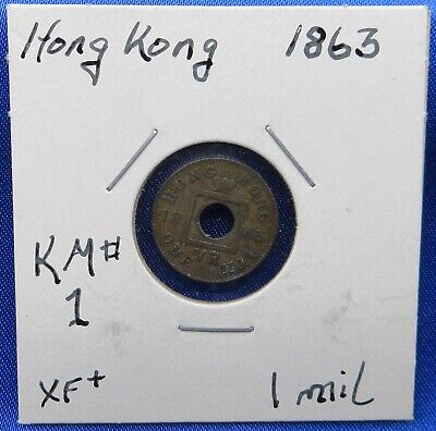 $4.24 • Buy 1863 Hong Kong 1 Mil Bronze Coin, Queen Victoria, First Year Issued, Superb Coin