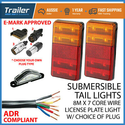 AU49.95 • Buy Pair Of Led Trailer Lights, 1 X Plug, 8m X 7 Core Wire Kit Complete Boat Light