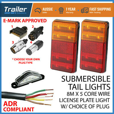 AU43.94 • Buy Led Trailer Submersible Tail Lights Kit Plug,number Plate Light,5 Core Wire Boat