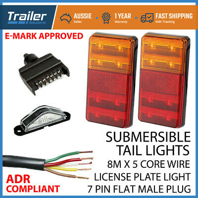 AU44.41 • Buy Led Trailer Submersible Tail Lights Kit-plug,number Plate Light,5 Core Wire Boat