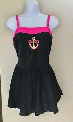 AU12.90 • Buy Vtg 80s Sz. 22 One-Piece Swimsuit W/Skirt. Embroidered. Plus-Size. Lolita/Preppy