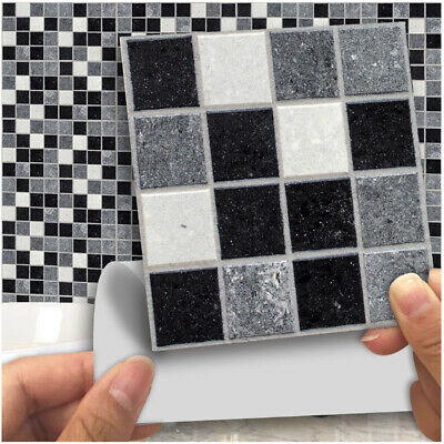 18pcs Marble Mosaic Kitchen Bathroom Self-adhesive Wall Tiles Stick ON Stickers • 8.95£