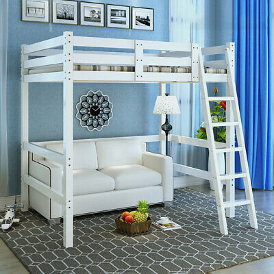 White Pine Wooden Loft Cabin Bed High Sleeper Single Bed 3FT Adult Kids Children • 195.95£