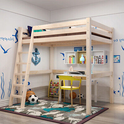 Natural Pine Wood Loft Bed 3FT Single Sleeper Bed Kids Adult Bunk Cabin Bed High • 175.95£