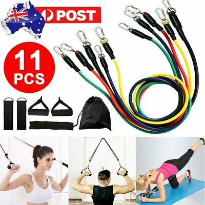 AU21.99 • Buy 11PCS Latex Yoga Strap Resistance Bands Exercise Home Gym Tube Fitness Elastic