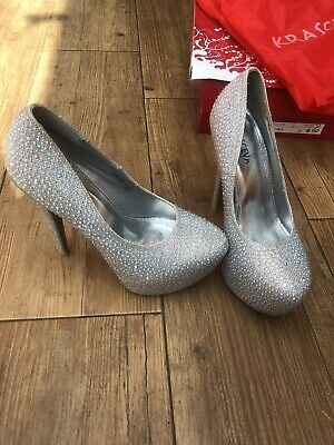 Krasceva Sparkly Shoes Heels Size 4 Diamante Christmas Stage Work Prom Ball Heel • 12£