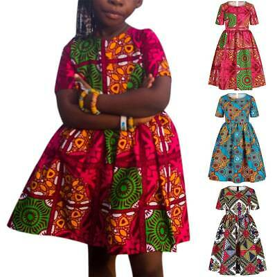 Girls Kids Swing Skater Dress African Printed Summer Casual Party Mini Dresses • 11.77£