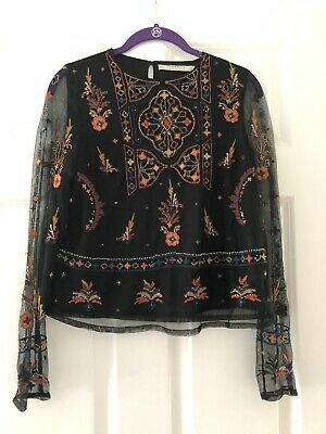 $17.99 • Buy Zara Beaded Embroidered Mesh Crop Long Sleeve Top - Size S Small