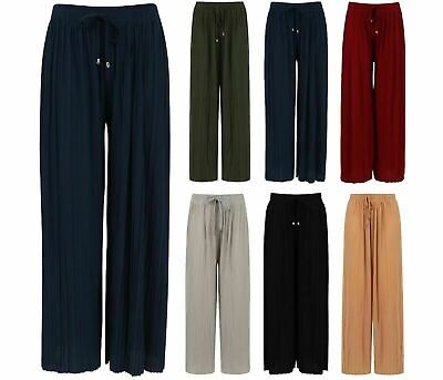 £5.99 • Buy Ladies Culottes Trousers Wide Leg Harem Pleated Crinkle Holiday Summer Beach