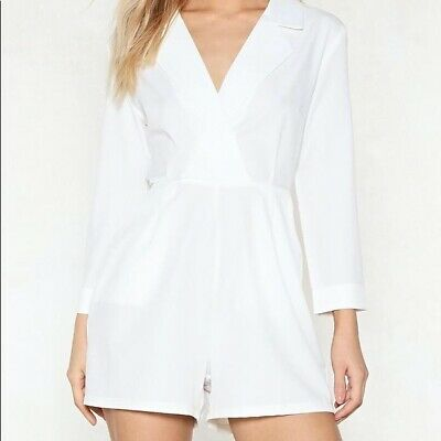 $29 • Buy Nasty Gal Romper Tuxedo Playsuit Suiting Sexy Size 4 Jumpsuit Party Minimalist
