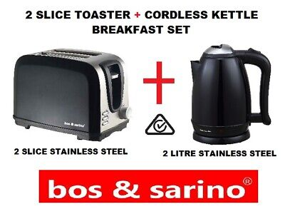 AU69.99 • Buy BLACK 2 Slice Toaster + 2L Cordless Kettle Stainless Steel Combo Saver Package