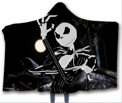 The Nightmare Before Christmas Thick Hooded Blanket Fleece Sherpa Wearable Throw • 18.99£