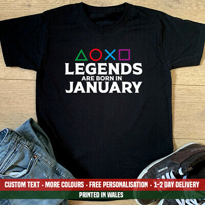 Playstation Legends Are Born January T Shirt Dad Gamer Gaming PS4 Birthday Gift • 10.99£