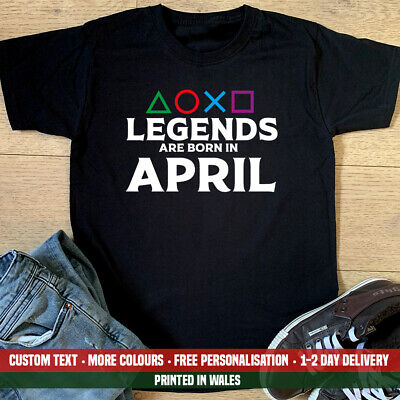 Playstation Legends Are Born April T Shirt Dad Gamer Gaming PS4 Birthday Gift • 10.99£
