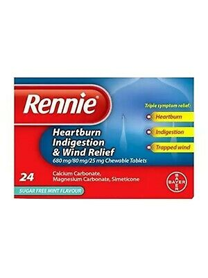 Rennie Heartburn Indigestion And Wind Relief Chewable Tablets 24 Sugar Free Mint • 6.45£