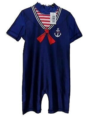 £4.99 • Buy BOYS GIRLS SAILOR SEA ALL IN ONE SWIMMING COSTUME UV SUNSUIT AGE 1 - 5 Years