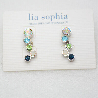 $ CDN12.96 • Buy Lia Sophia Jewelry Cute Colorful CZ Cut Crystals Green Blue Post Earrings Stud