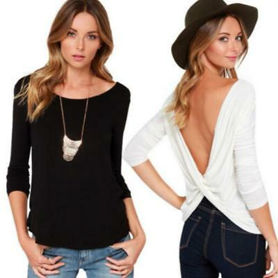 AU11.35 • Buy Female Exposed Back T-shirt Women Clothing Sexy 4 Colors 1Pc Bottoming Shirt AA