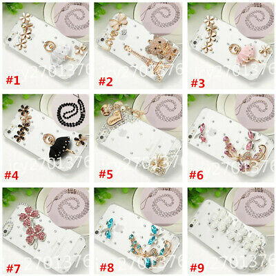 AU15.44 • Buy 3D Bling Diamonds Soft Back TPU Phone Cases Cover With Crystals Strap For Iphone