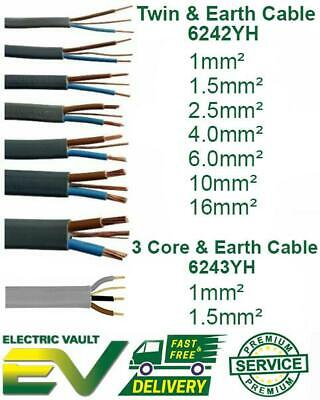 Twin & Earth And 3 Core & Earth Electrical Cable Wire 6242YH 6243YH 25m 50m 100m • 259.99£