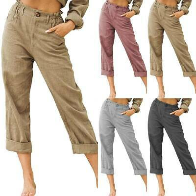Womens 3/4 Trousers Ladies Cotton Three Quarter High Waist Loose Cropped Pants • 12.34£