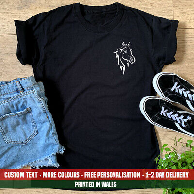 £10.99 • Buy Ladies Horse Face Silhouette Pocket T Shirt Horse Riding Pony Show Jumping Gift