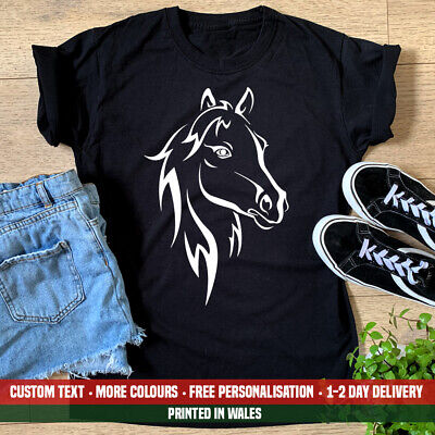 £10.99 • Buy Ladies Horse Face Silhouette T Shirt Horse Riding Teacher Pony Show Jumping Gift