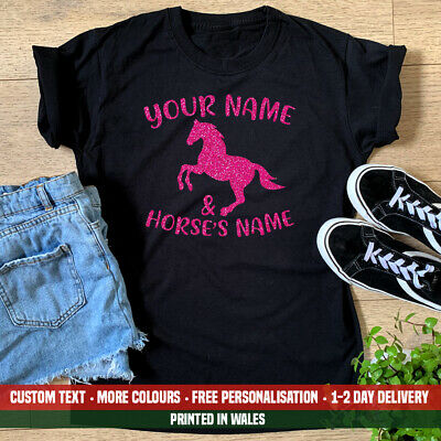 Ladies Horse Your Horses Name T Shirt Riding Teacher Pony Show Jumping Gift • 12.99£