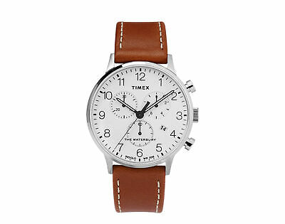 $138.95 • Buy Timex Waterbury Classic Chrono 40mm Leather Strap Steel/Tan Watch TW2T2800VQ