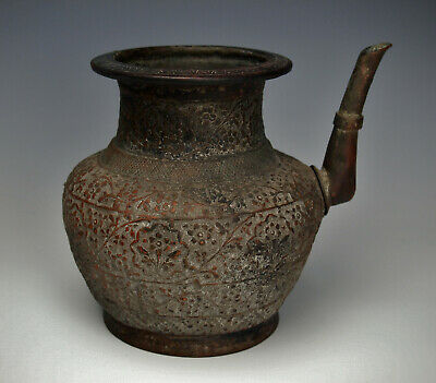 $800 • Buy 1700s MUGHAL HAND HAMMERED PITCHER India Indo Persian Lota Pot Fine Antique Ewer