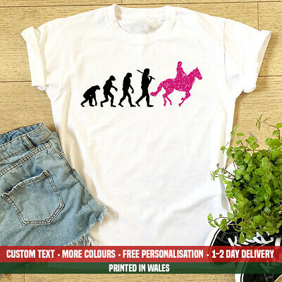 Ladies Evolution Horse Riding T Shirt Funny Pony Club Girlfriend Daughter Gift • 12.99£