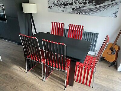Frag Italian Designer Frosted Black Glass Dining Room Table & 6 Chairs £6k New? • 375£
