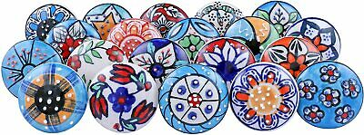 20 Mix Vintage Look Flower Ceramic Knobs Cabinet Drawer Cupboard Pull • 24.99£