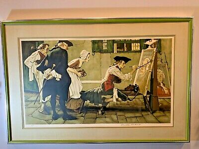 $ CDN1800.09 • Buy Norman Rockwell Pencil Signed  Colonial Sign Painter  Artist Proof Large Drawing