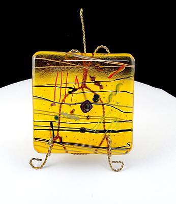 $34.97 • Buy Studio Art Glass Amber Fused Multi Colored Abstract Square 4 1/2  Plaque & Stand