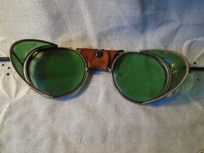 $95 • Buy Vintage American Optical SAFETY GOGGLES Green Lens Motorcycle/Welding/Steampunk