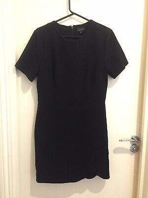 Top Shop Black Fitted A-line Short Mini Dress Size 14 Silk Pencil Work Office • 8.50£
