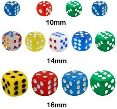 AU39.89 • Buy New Opaque 10 14 16mm Six Sided Spot Dice D6 RPG For Ludo Monopoly Board Games