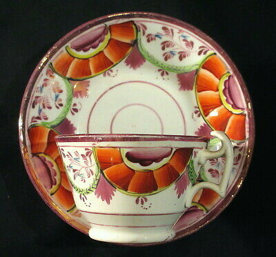 $25 • Buy Hand Painted Pink Luster Cup And Saucer Circa 1820